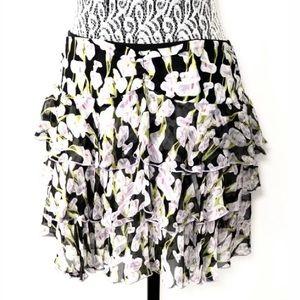 Diane von Furstenberg Floral Tiered Skirt Size 6